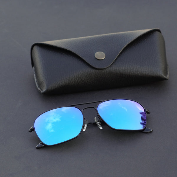 Raees Black and Aqua Mercury Square Sunglasses