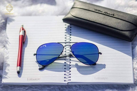 BLACK AND BLUE AVIATOR SUNGLASSES