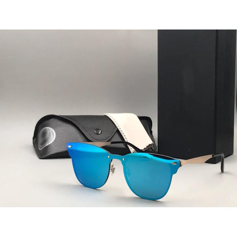 Blue, Gold Square Lightweight Comfortable Sunglasses For Men and Women
