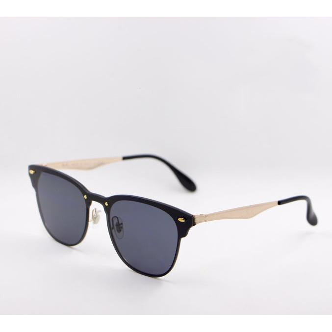 FCS Black, Gold Square Lightweight Comfortable Sunglasses For Men and Women