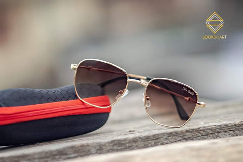 GOLDEN AND BROWN ROUND SUNGLASSES