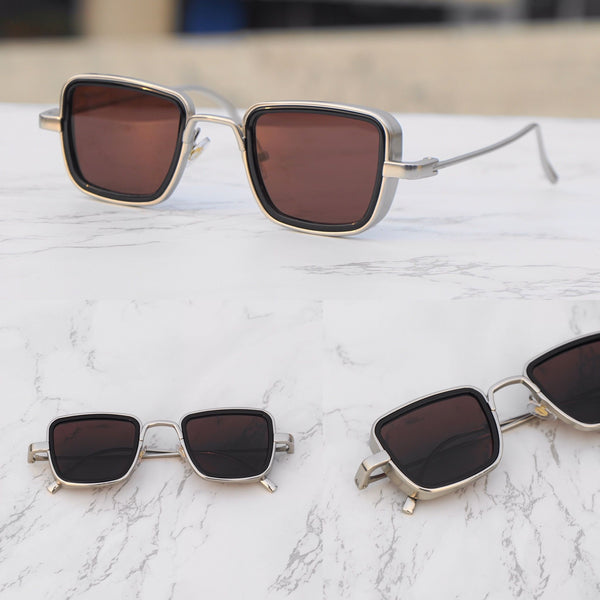Brown And Silver Retro Square Sunglasses