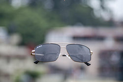 GOLDEN AND GRAY SQUARE SUNGLASSES