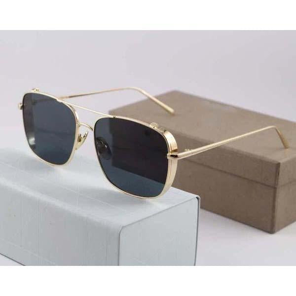 Gold, Black Rectangle Lightweight Comfortable Sunglasses For Men and Women