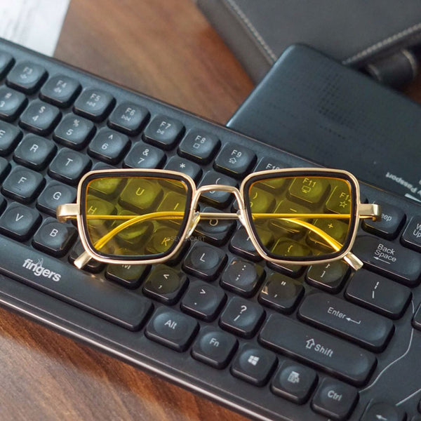 Yellow and Gold Retro Square Sunglasses