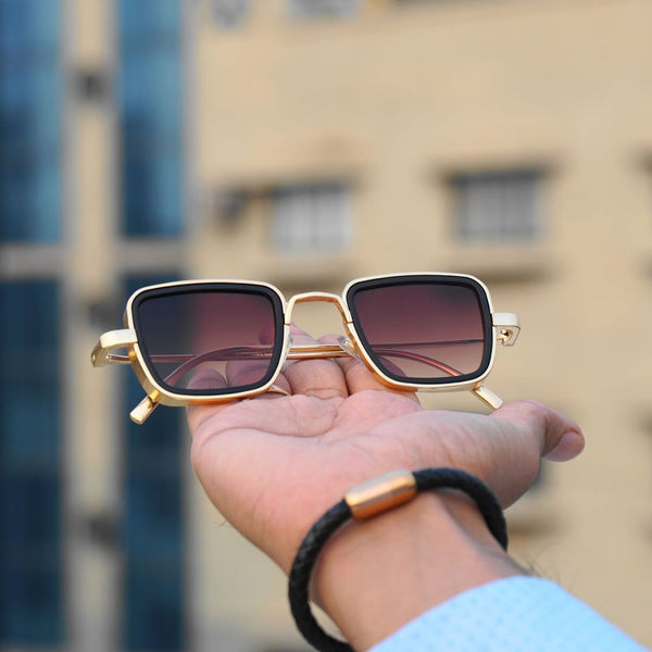 Brown and Gold Retro Square Sunglasses