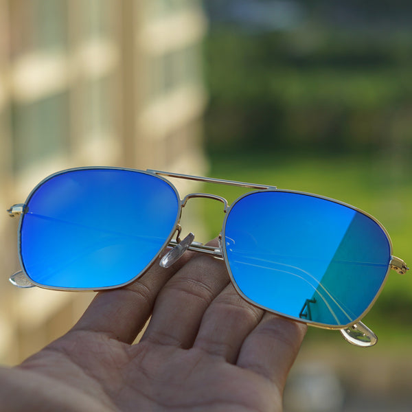 Raees Gold and Blue Mercury Square Sunglasses