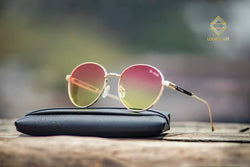 GOLDEN AND PINK ROUND SUNGLASSES