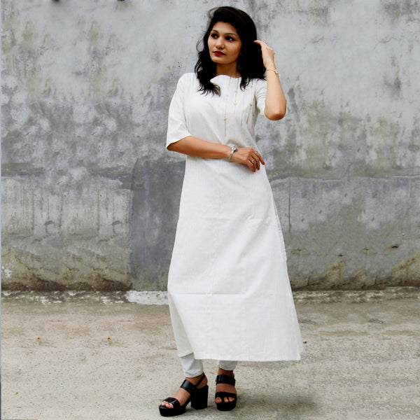 DESIGNER WHITE HEAVY COTTON HAND WORK KURTI WITH INNER