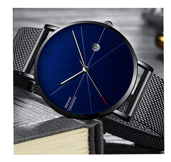 Dual Tone Glass Analog Watch For Man