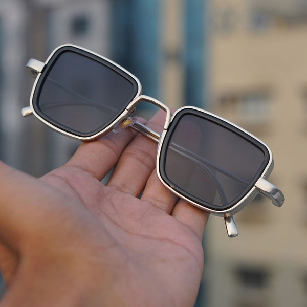 Black And Silver Retro Square Sunglasses