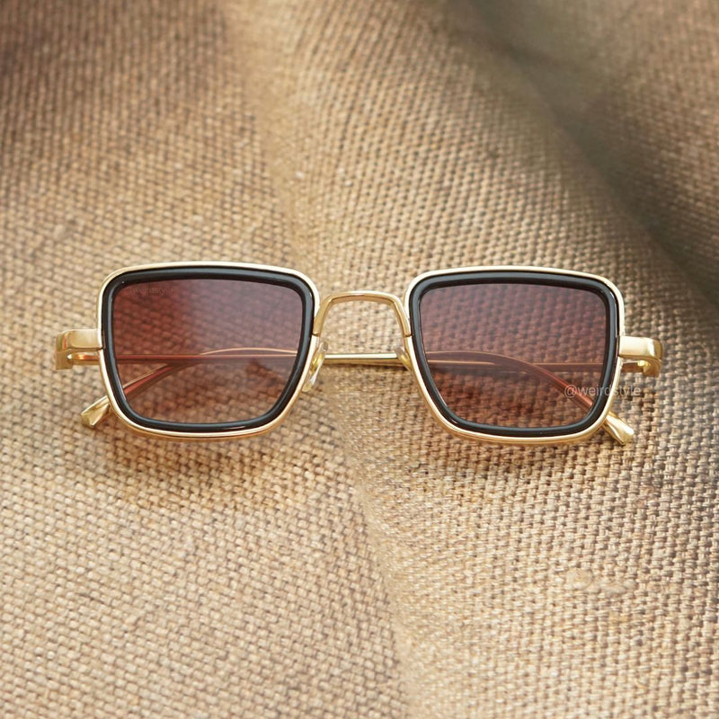 Gold And Brown Retro Square Sunglasses