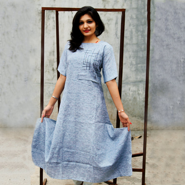 DESIGNER DHOTI CUT BLUE HEAVY COTTON HAND WORK KURTI WITH INNER