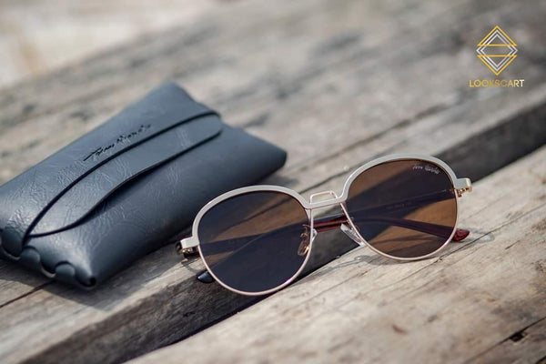 BLACK AND BROWN ROUND SUNGLASSES