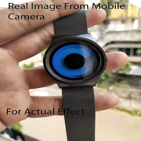 Analogue Blue Unique Dial Ultra Platform Metal Black Belt Men's Watch