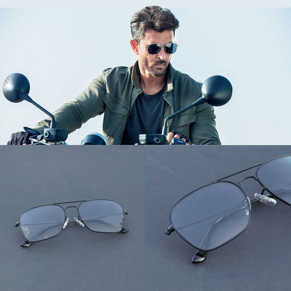 Raees Black And Transparent Square Sunglasses