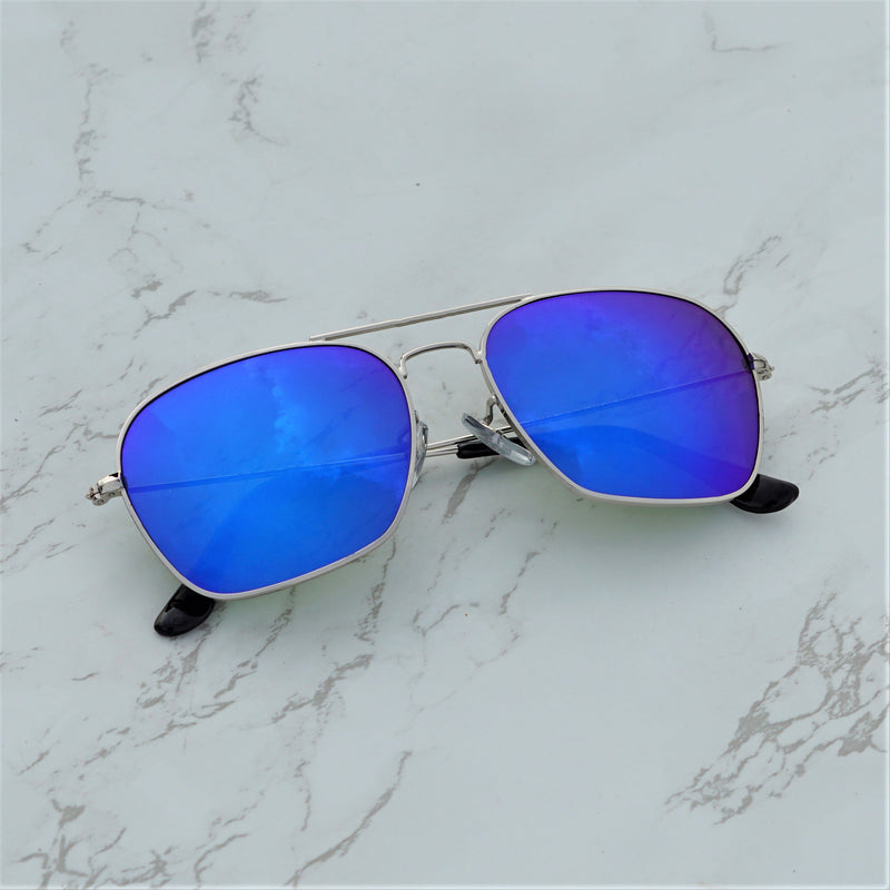 Raees Blue and Silver Mercury Square Sunglasses