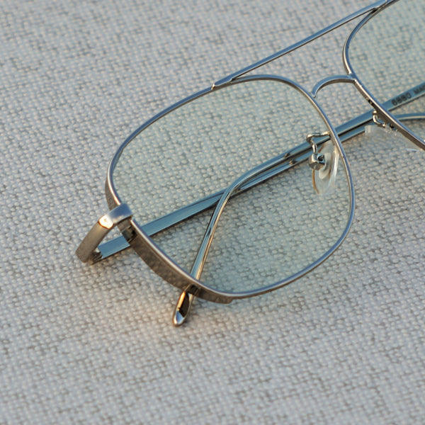 SIDE CAP RECTANGLE SILVER TRANSPARENT SUNGLASSES
