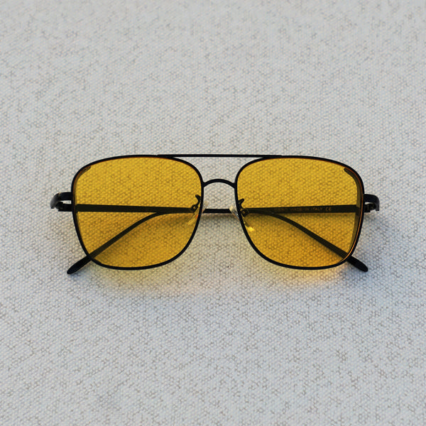SIDE CAP RECTANGLE BLACK YELLOW SUNGLASSES