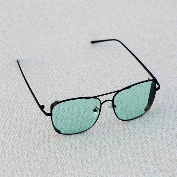 SIDE CAP RECTANGLE BLACK GREEN SUNGLASSES
