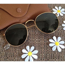 Gold, Black Round Lightweight Comfortable Sunglasses For Men and Women