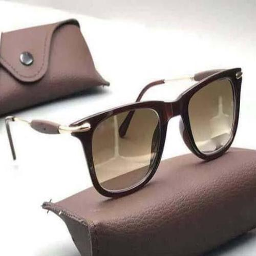 FCS Brown Gold Square Lightweight Comfortable Sunglasses For Men and Women