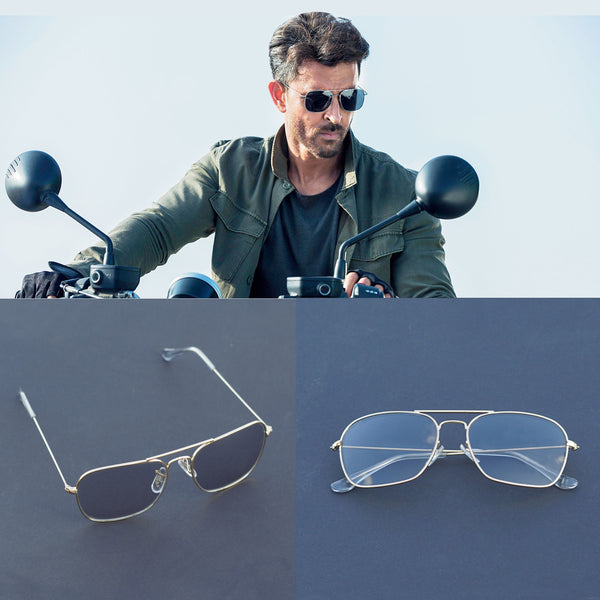 Raees Gold and Transparent Square Sunglasses