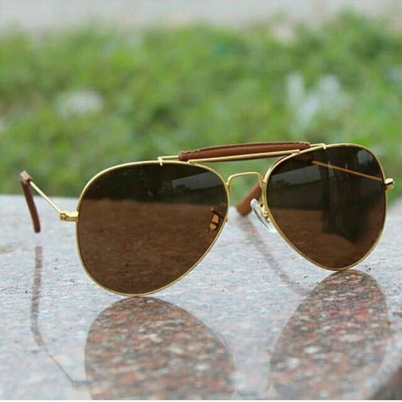 Brown, Gold Ovel Lightweight Comfortable Sunglasses For Men and Women