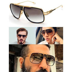Black Gold Rectangle Lightweight Comfortable Sunglasses For Men and Women