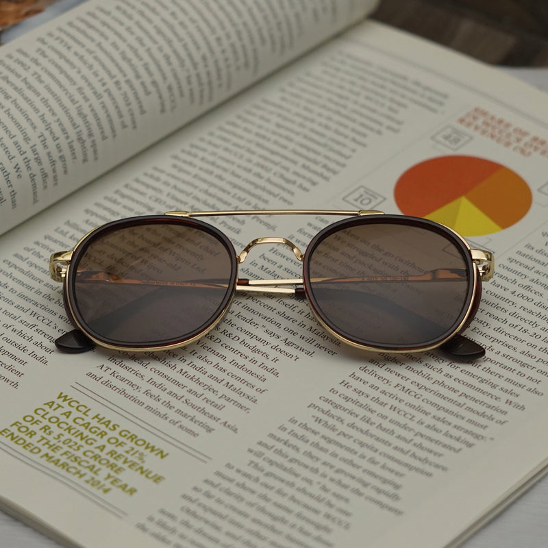 Golden Brown R4612 Metal Frame Polarized Round Sunglasses