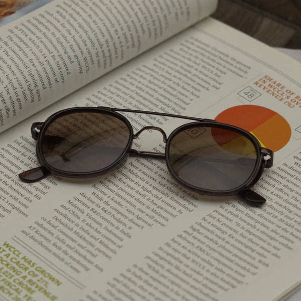 Full Brown R4612 Metal Frame Polarized Round Sunglasses