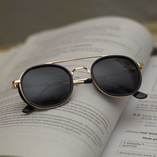 Golden Black  R4612 Metal Frame Polarized Round Sunglasses