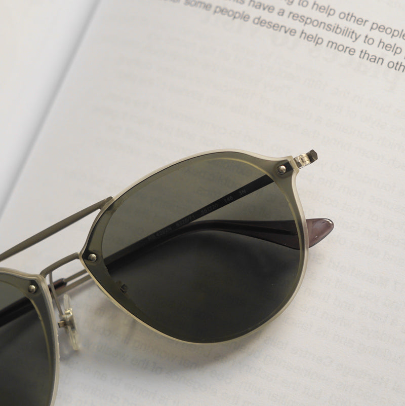 Green And Silver R4292 Round Unisex Sunglasses