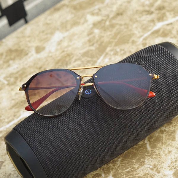 Brown And Gold R4292 Round Unisex Sunglasses