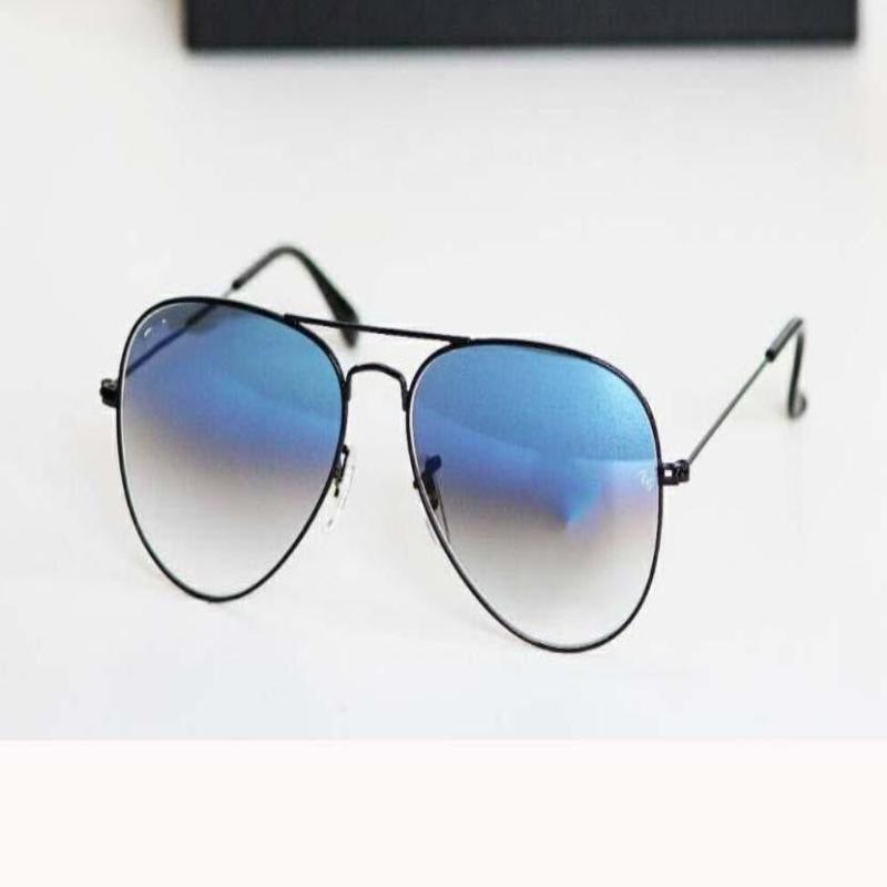 Black and Blue Ovel Lightweight Comfortable Pilot Sunglasses For Men and Women