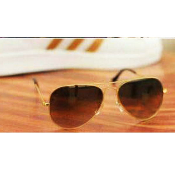 Brown Gold Ovel Lightweight Comfortable Sunglasses For Men and Women