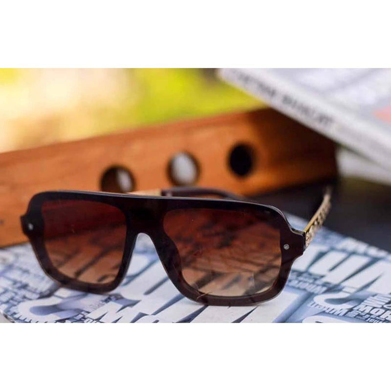 Dual Brown Shade Oversize Stylish Looking New unisex Sunglasses