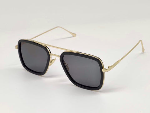 GOLD AND BLACK SQUARE SUNGLASSES