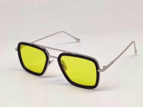 SILVER AND YELLOW SQUARE SUNGLASSES