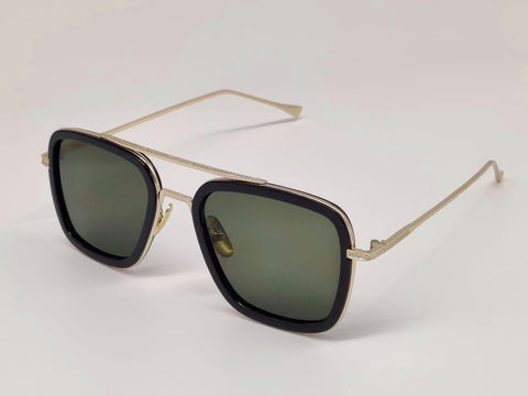 GOLD AND GREEN SQUARE SUNGLASSES