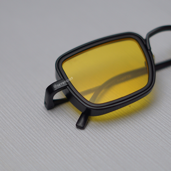 Yellow and Black Retro Square Sunglasses