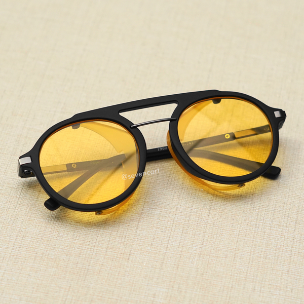 Yellow and Black Side Cap Round Sunglasses
