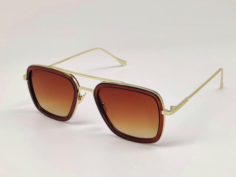 GOLD AND BROWN SQUARE SUNGLASSES