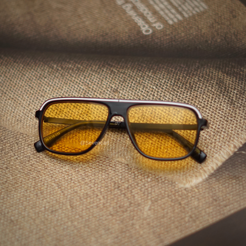 Stylish Yellow and Black Rectangle Sunglasses