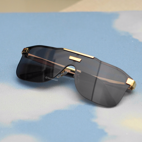 BLACK OVERSIZED SHIELD SUNGLASSES