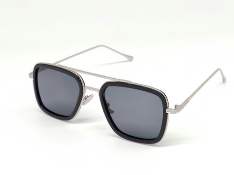 SILVER AND BLACK SQUARE SUNGLASSES