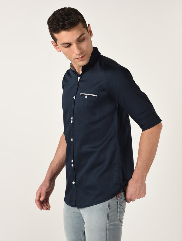 Navy Blue Solid Long Sleeves Cotton Shirt