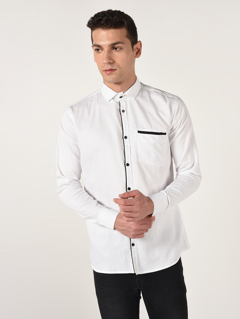 White Solid Long Sleeves Cotton Shirt