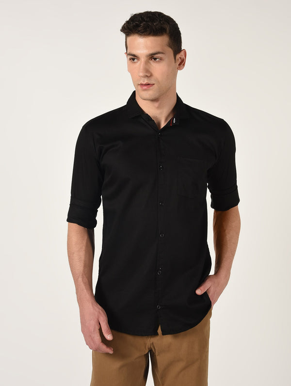 Black Solid Long Sleeves Cotton Shirt
