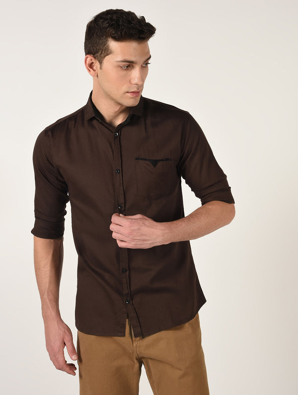 Dark Brown Solid Long Sleeves Cotton Shirt
